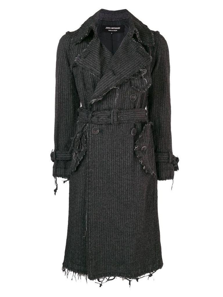 Junya Watanabe Comme Des Garçons Vintage pinstripe frayed coat - Grey
