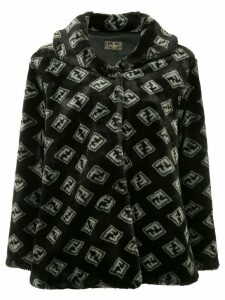 Fendi Pre-Owned Fendi Pre-Owned Zucca pattern long sleeve coat - Black