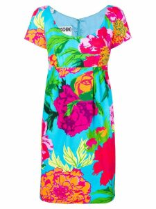 MOSCHINO PRE-OWNED floral empire line dress - Blue