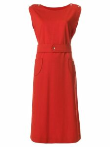 Courrèges Pre-Owned belted midi dress - Red