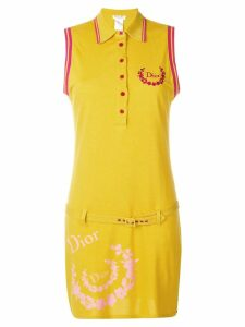 CHRISTIAN DIOR PRE-OWNED sleeveless belted polo dress - Yellow