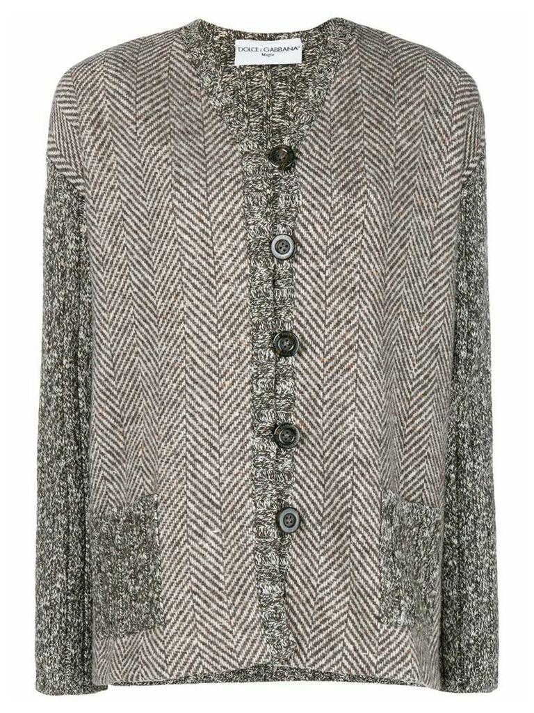 Dolce & Gabbana Pre-Owned herringbone buttoned jacket - Brown
