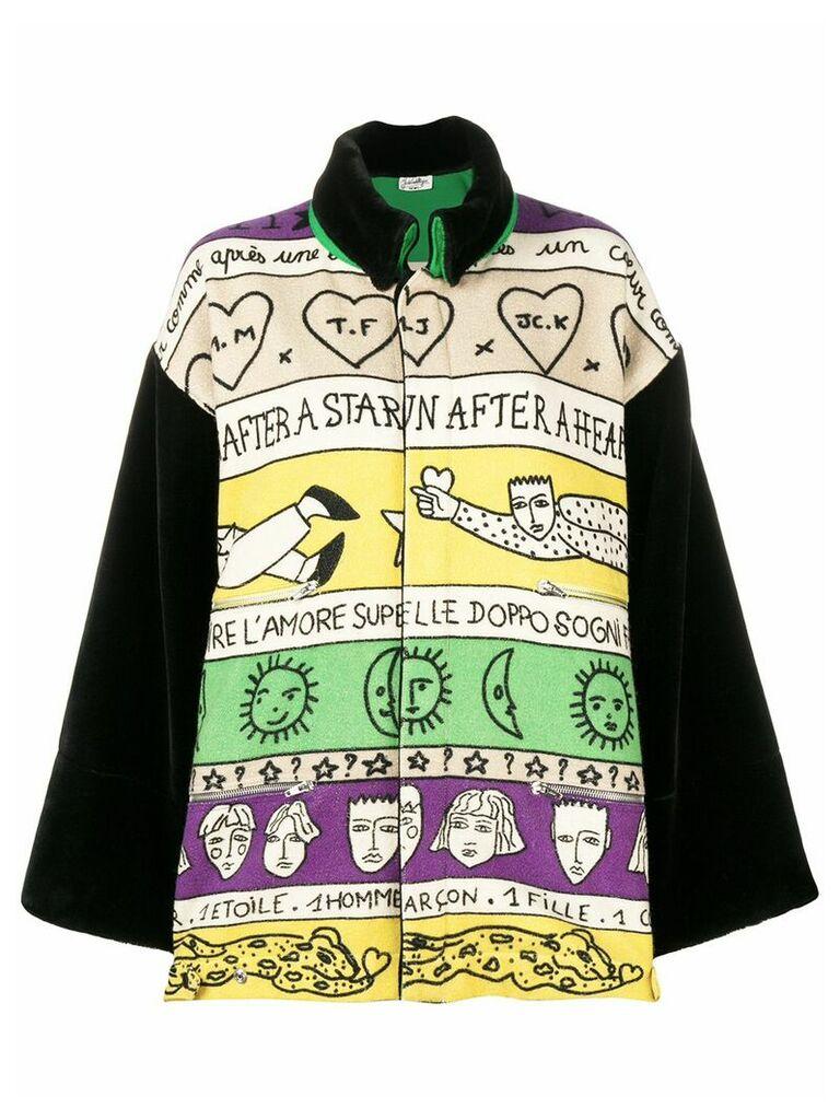Jc De Castelbajac Vintage abstract print oversized coat - Neutrals