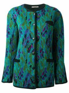 Yves Saint Laurent Pre-Owned jacquard long cardigan - Green