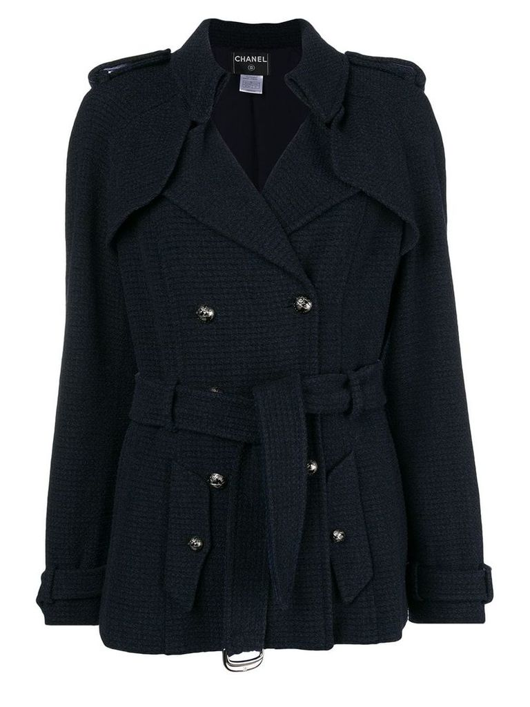 CHANEL PRE-OWNED double-breasted belted coat - Blue
