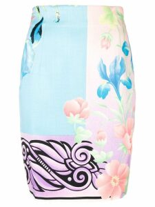Versace Pre-Owned floral fitted skirt - Blue