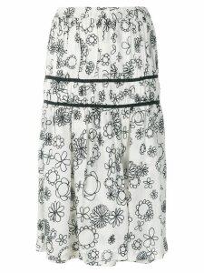 Comme Des Garçons Pre-Owned floral gathered skirt - White