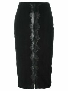 ALAÏA PRE-OWNED appliqué detail midi skirt - Black