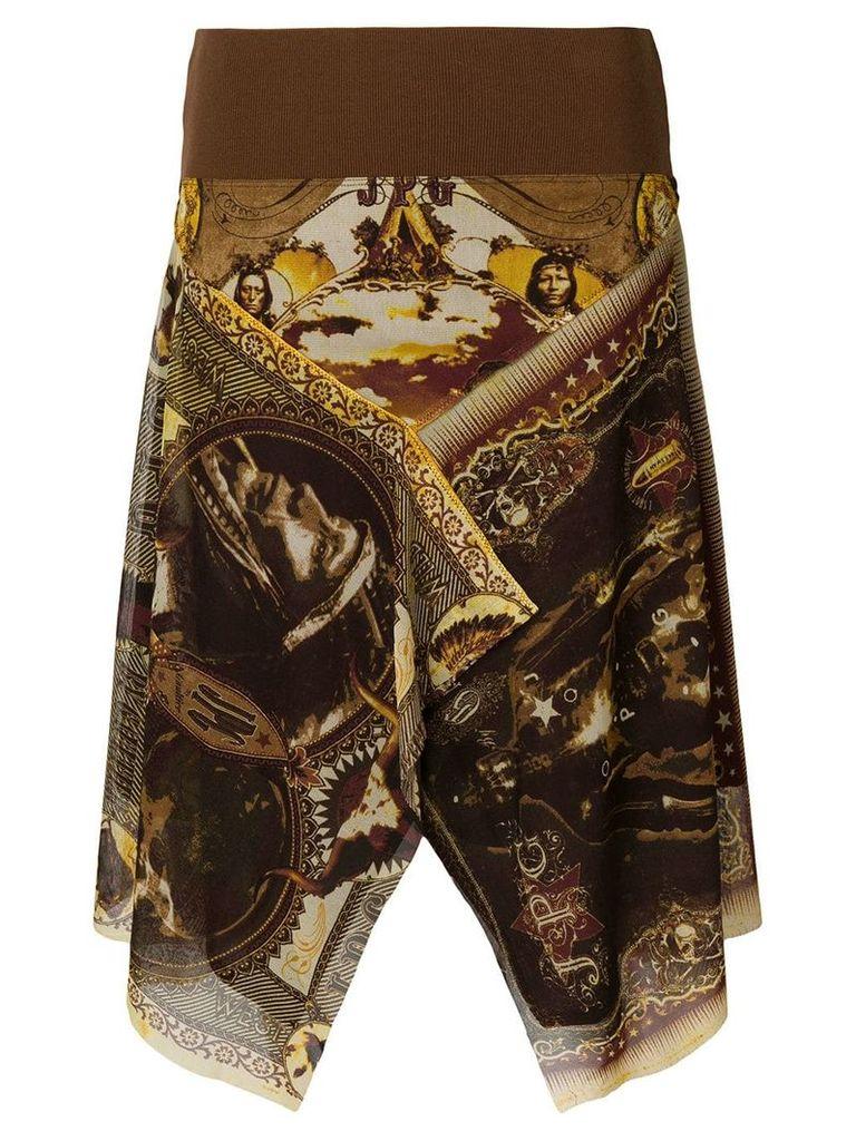 Jean Paul Gaultier Vintage American Indias print skirt - Brown