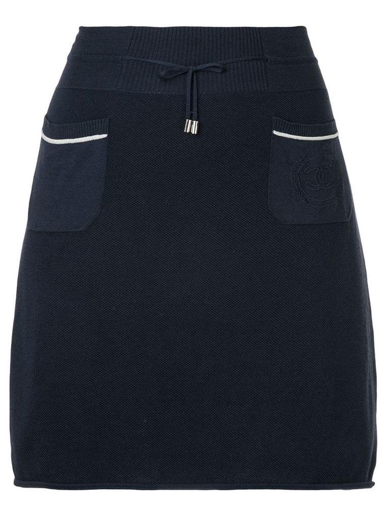 Chanel Vintage drawstring A-line short skirt - Blue