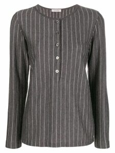 Yves Saint Laurent Pre-Owned 1970's pinstripe buttoned blouse - Grey