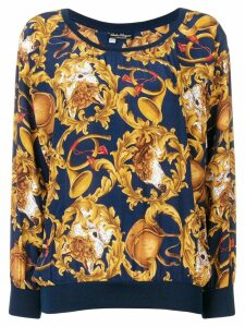Salvatore Ferragamo Pre-Owned 1990's trumpets print blouse - Blue