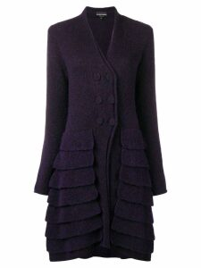Giorgio Armani Pre-Owned 1990's layered cardi-coat - Purple