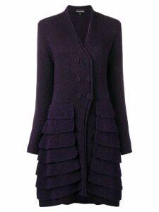 GIORGIO ARMANI PRE-OWNED 1990's layered cardi-coat - Purple