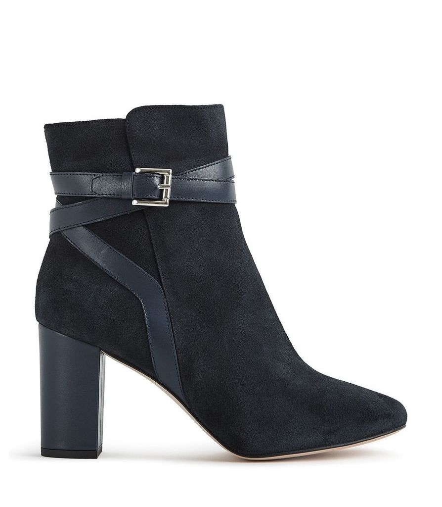 Reiss Enrica - Suede Buckle Detail Boots in Navy, Womens, Size 8