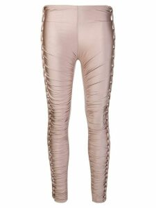 Jean Paul Gaultier Pre-Owned stretch plaited gathered trousers - Pink