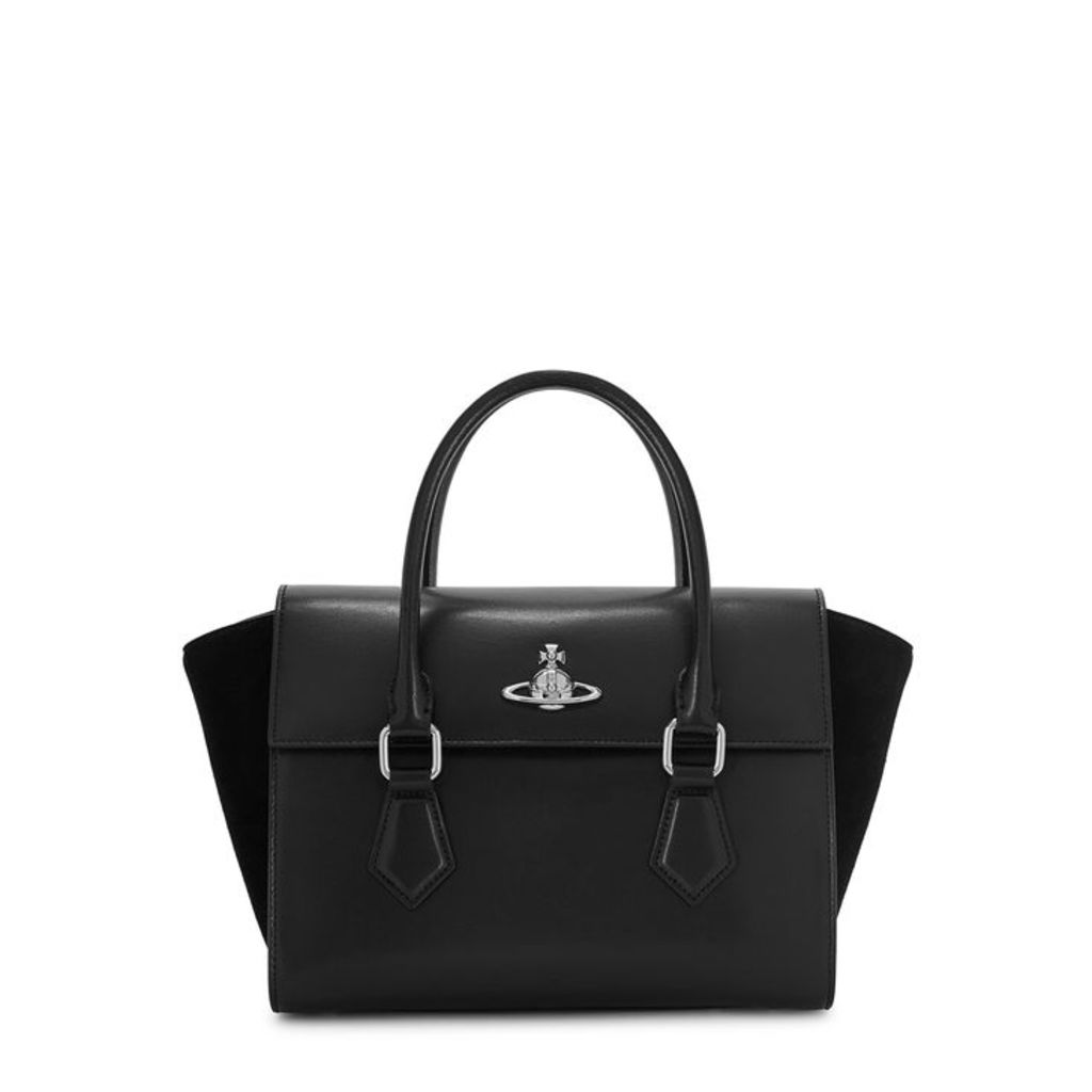 Vivienne Westwood Matilda Black Leather Top Handle Bag