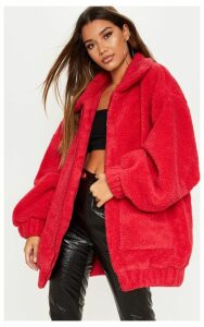 Red Oversized Borg Pocket Front Coat, Red