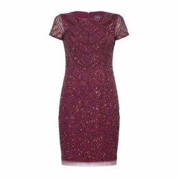 Adrianna Papell Short Sleeve Bead Dress