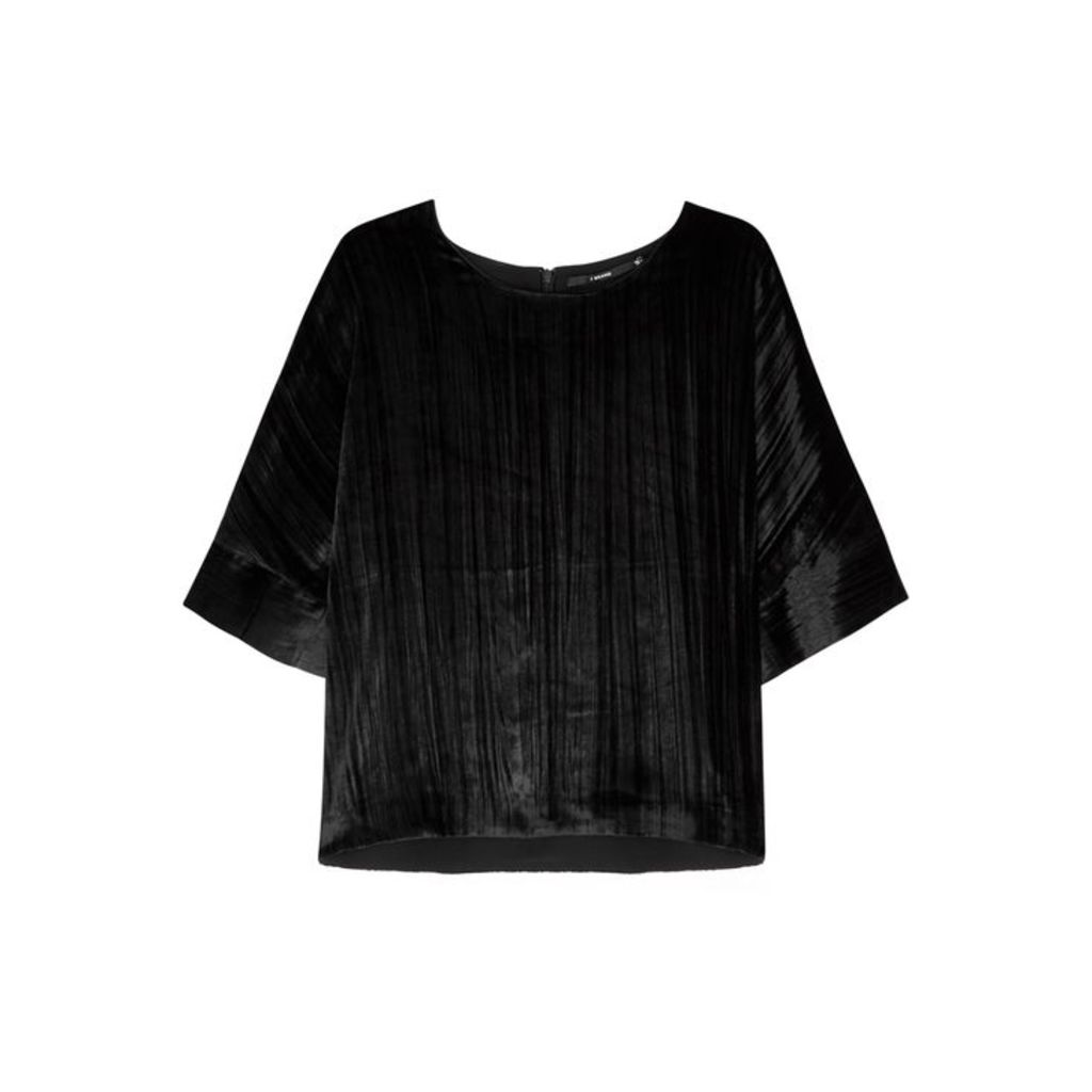 J Brand Daisy Black Velvet Top