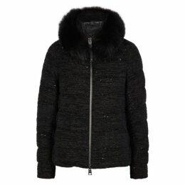 Herno Sequin-embellished Bouclé-knit Jacket