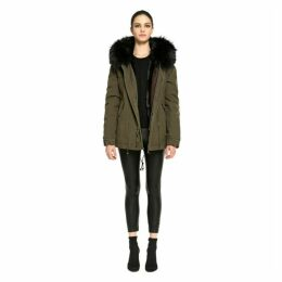 Mr & Mrs Italy Dark Green Minin Parka Rabbit Raccoon Fur