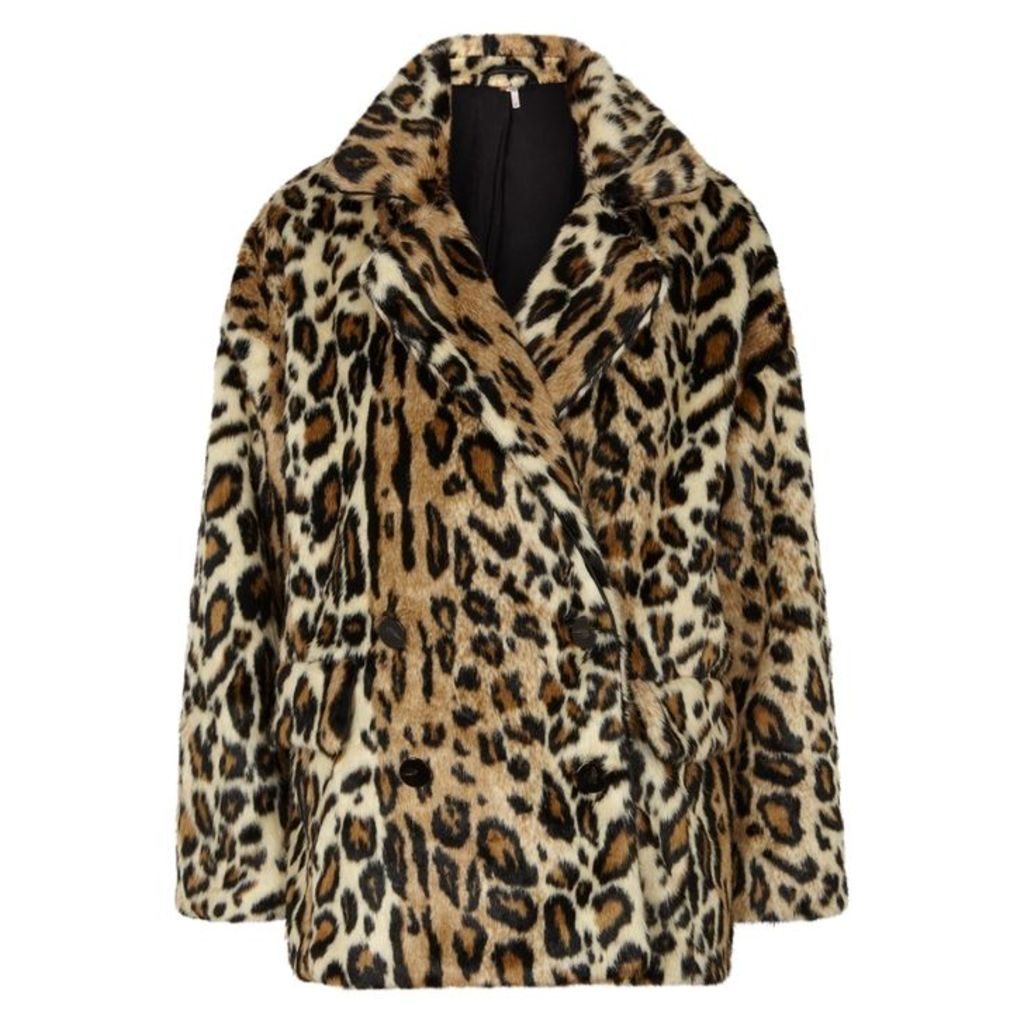 Free People Kate Leopard-print Faux Fur Coat