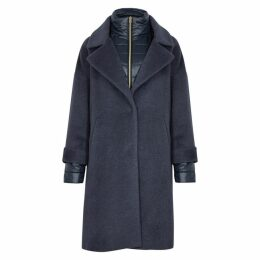 Herno Blue Shell-trimmed Wool-blend Coat