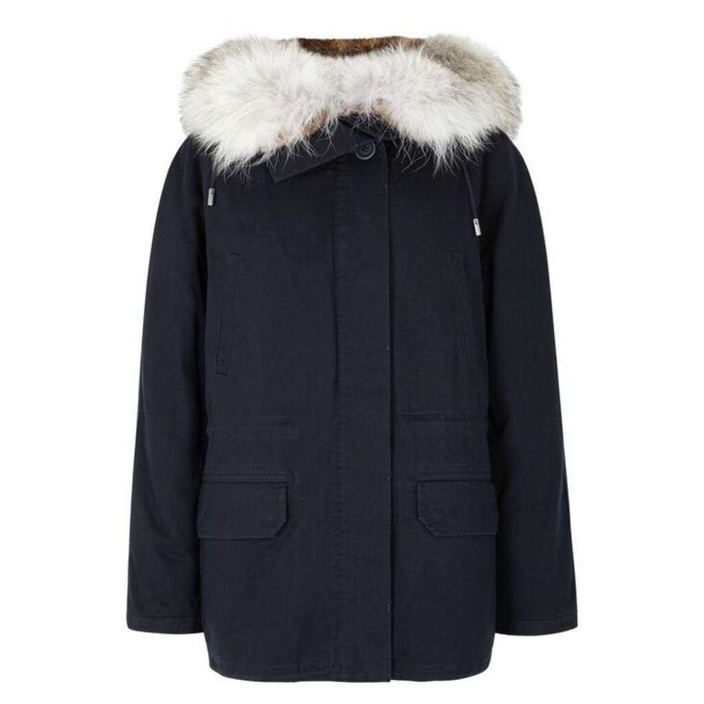 Yves Salomon Navy Fur-lined Cotton-twill Parka