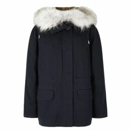 Yves Salomon Navy Fur-lined Cotton-twill Parka