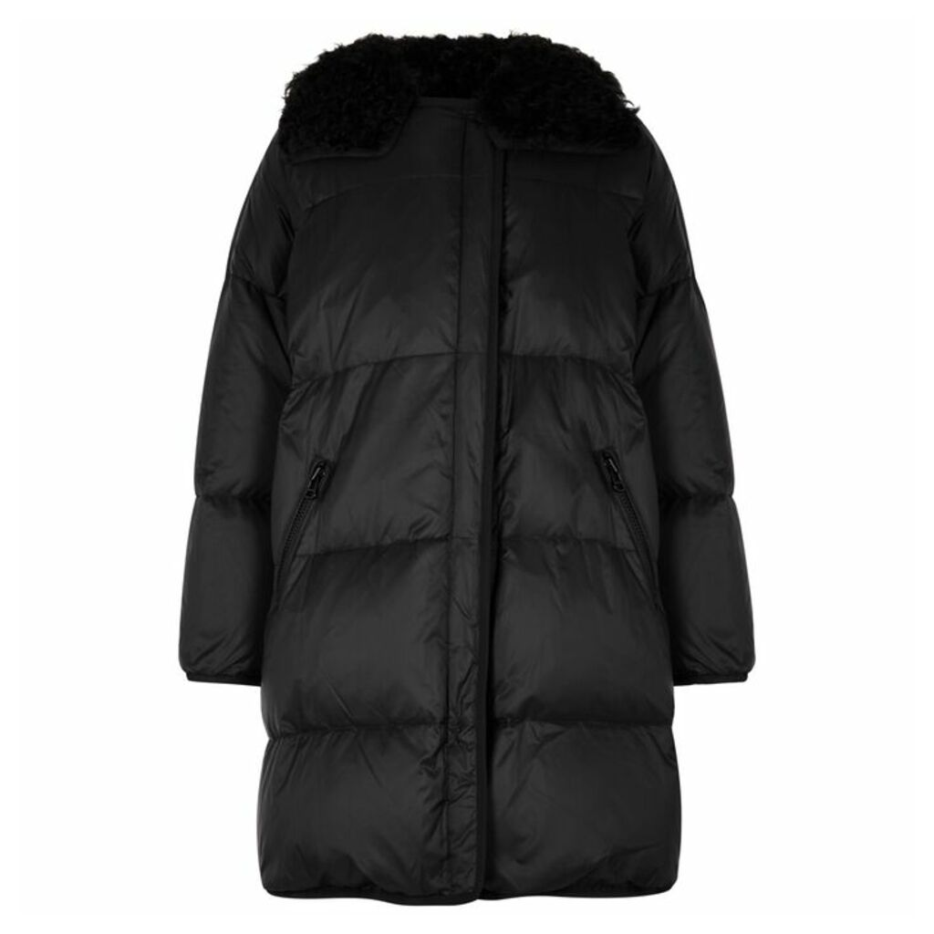 Yves Salomon Kalgan Black Quilted Shell Coat