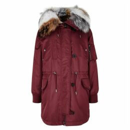 Yves Salomon Burgundy Fur-trimmed Shell Coat