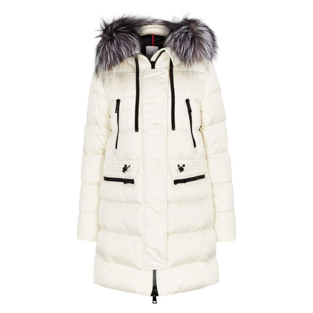 Moncler Aphrotiti Cream Fur-trimmed Shell Coat