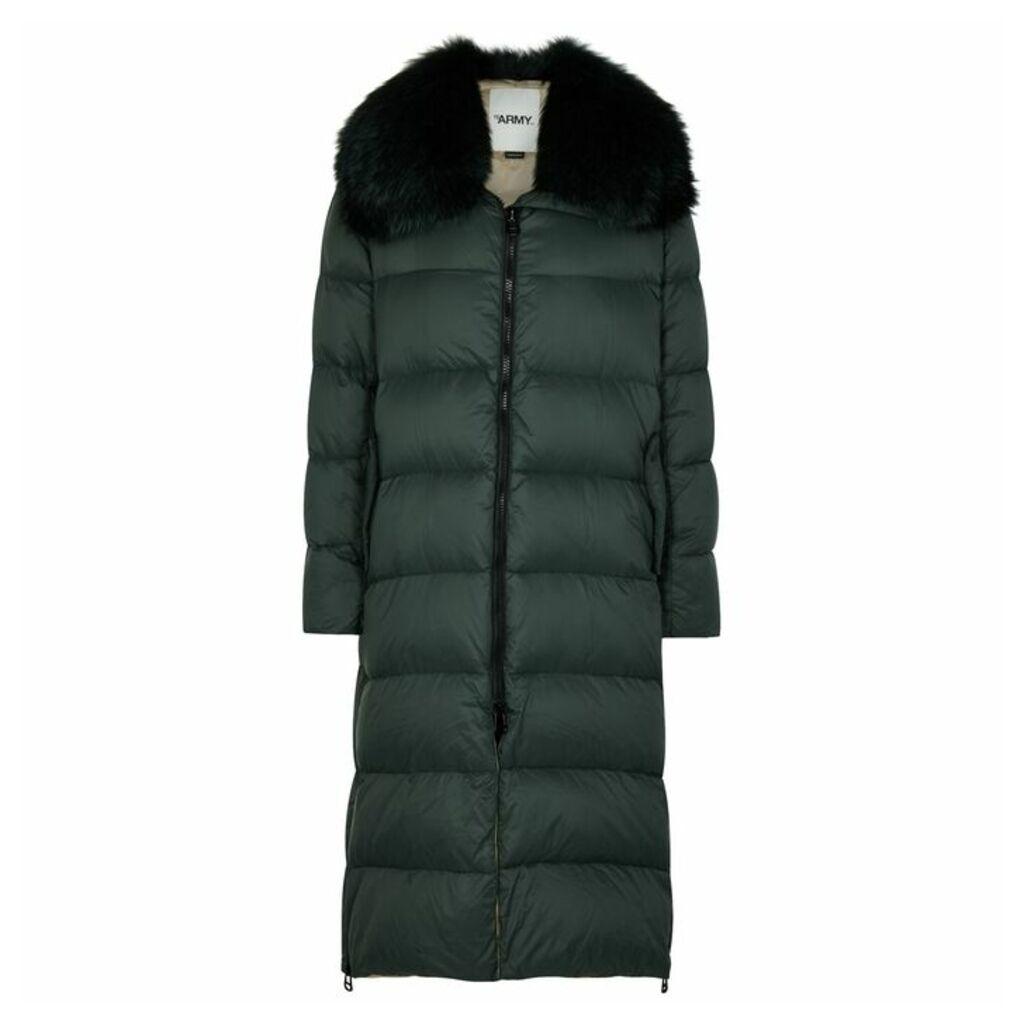 Yves Salomon Dark Green Fur-trimmed Shell Coat