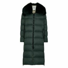 Yves Salomon Dark Green Fur-trimmed Shell Coat