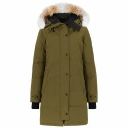 Canada Goose Shelburne Army Green Fur-trimmed Parka