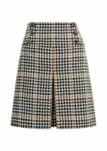 Joy Check Wool Skirt Camel Black