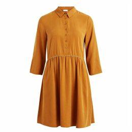 Dress With Shirt Collar and Metallic Details