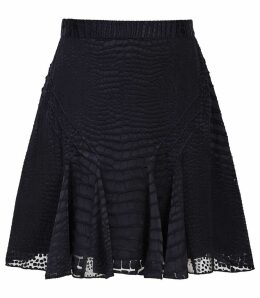 Reiss Lucy - Burnout Snake Pattern Skirt in Navy, Womens, Size 14