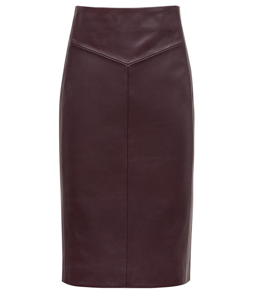 Reiss Megan - Leather Pencil Skirt in Oxblood, Womens, Size 14