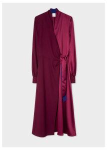 Women's Satin Burgundy Wrap Long-Sleeve Dress