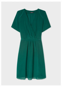 Women's Dark Green Wrap Silk Dress