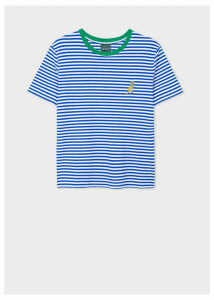 Women's Blue And White Stripe Embroidered 'Dino' T-Shirt
