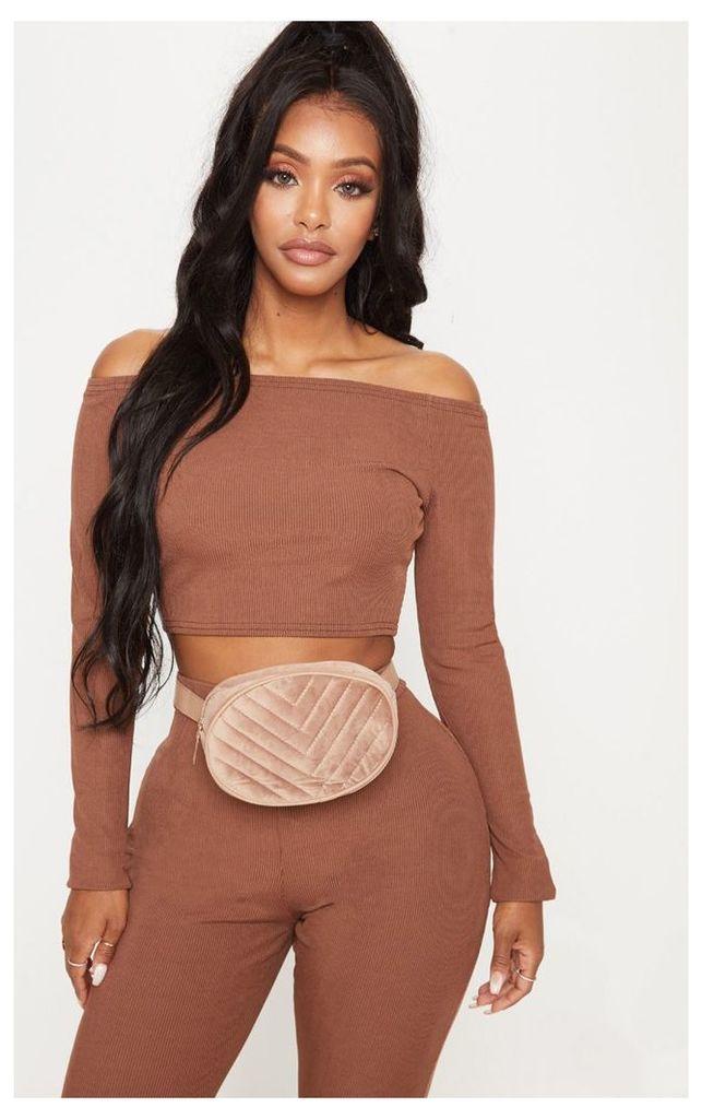 Shape Chocolate Brown Ribbed Bardot Long Sleeve Crop Top, Chocolate Brown