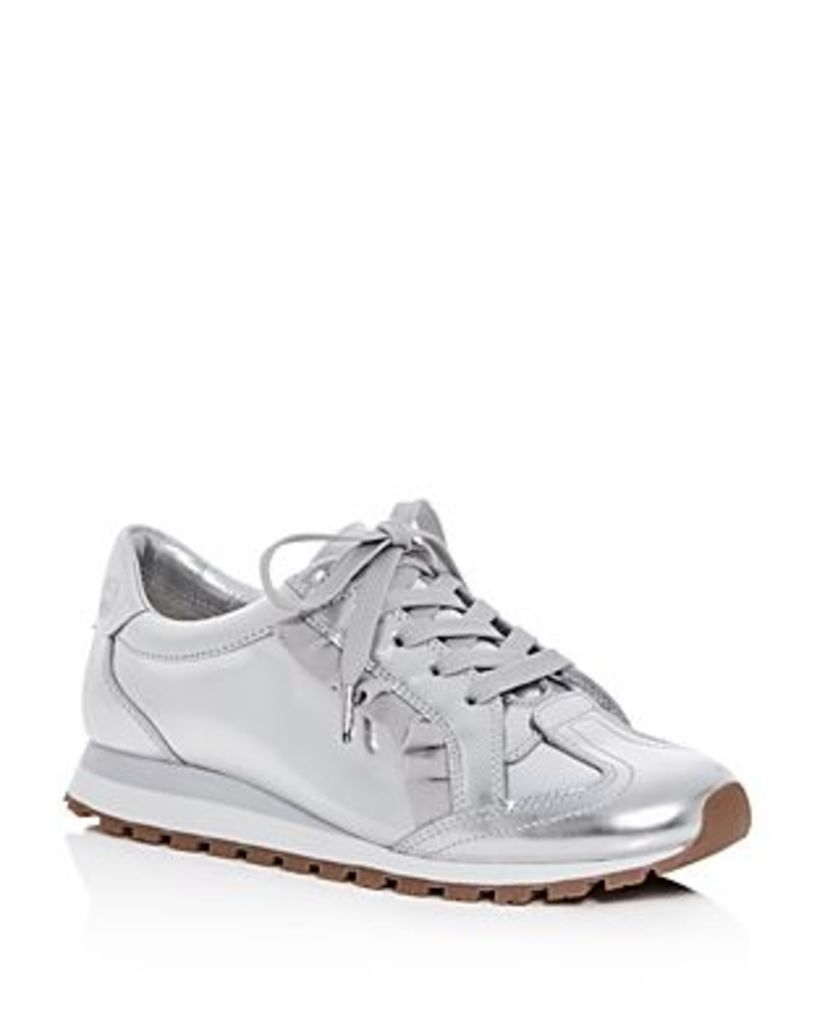 Tory Sport Women's Ruffle Trainer Leather Lace Up Sneakers