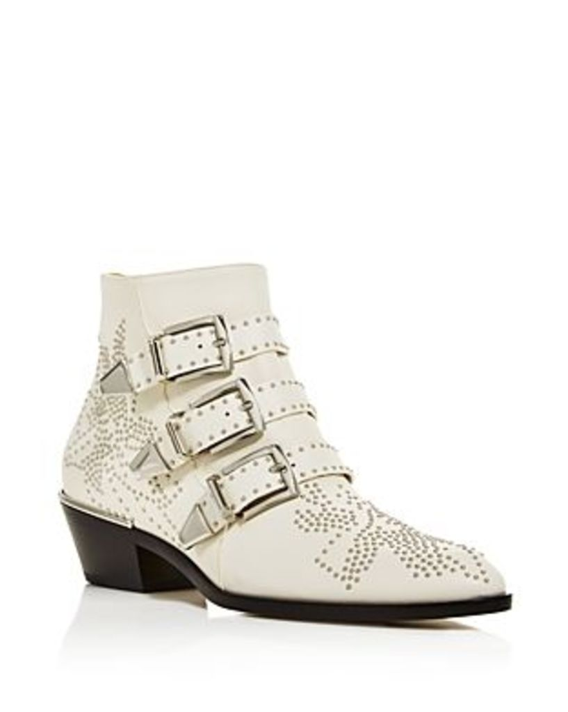 Chloe Women's Susanna Pointed Toe Studded Leather Booties