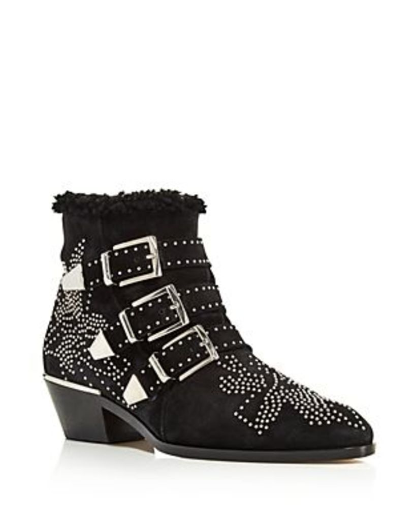Chloe Women's Susan Pointed Toe Studded Suede & Shearling Booties