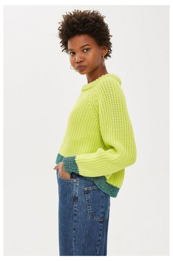 Womens Petite Lime Metallic Thread Jumper - Lime, Lime
