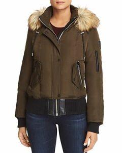 Vince Camuto Faux Fur Trim Short Puffer Coat