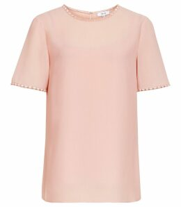 Reiss Stella - Lace Trim Top in Pale Pink, Womens, Size 14